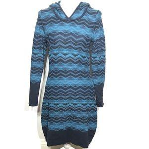 Prana Meryl sweater dress blue hoodie long sleeve